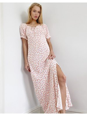 Only milk maid maxi dress in pink ditsy floral-multi
