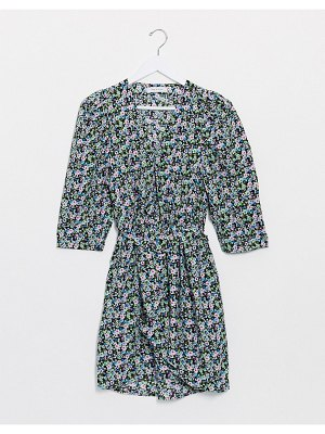 Only mini dress with belted waist in mixed ditsy floral-multi