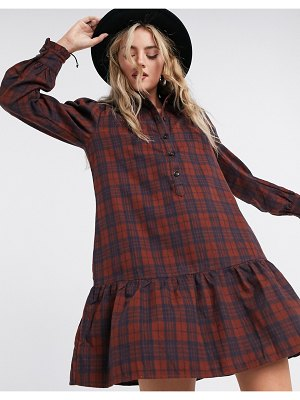 Only mini shirt dress with pephem in check print-multi
