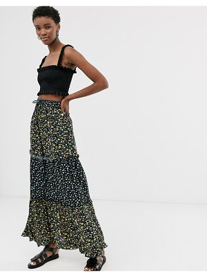 Only mix print floral maxi skirt
