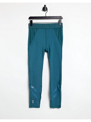 Only Play ankle cropped leggings with high waist and mesh detail in green