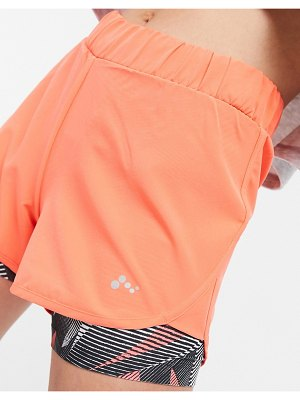 Only Play judie aop loose workout shorts in fiery coral-orange