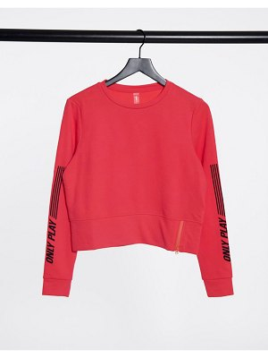 Only Play shelly o-neck zip sweatshirt in coral-orange