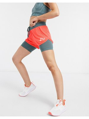 Only Play sul loose training shorts in fiery coral and goblin blue-orange
