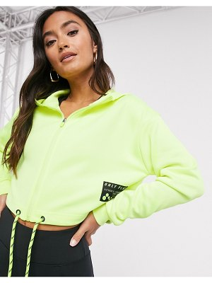 Only Play zip up hooded activewear top in neon yellow