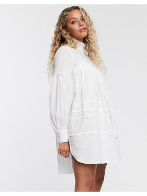 Only poplin smock dress with high neck in white