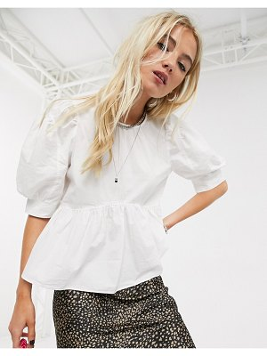 Only poplin smock top with puff sleeves in white