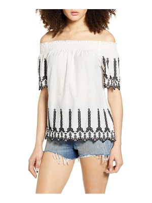 Only shery contrast embroidery off the shoulder top