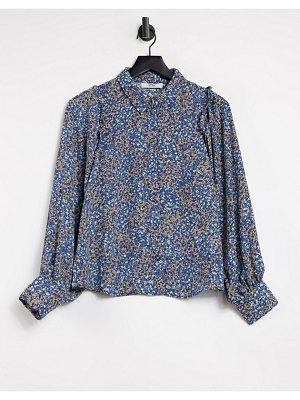 Only shirt with frill detail and volume sleeve in blue floral-multi