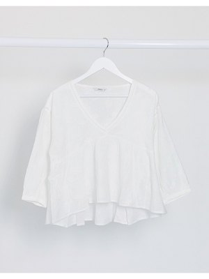 Only smock blouse with v neck in white