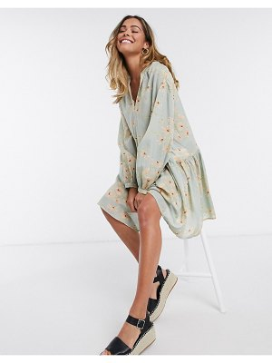 Only smock dress with balloon sleeves in green floral-multi