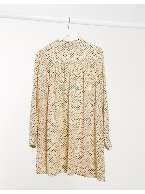 Only smock dress with high neck in yellow polka dot-multi