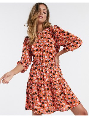 Only smock dress with peplum hem and puff sleeves in red floral-multi