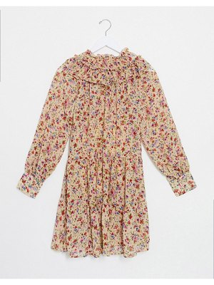 Only smock dress with ruffle neck in beige floral