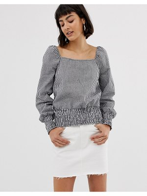 Only square neck gingham check top