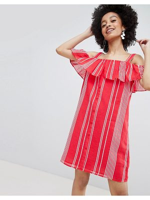 Only stripe cold shoulder button through dress