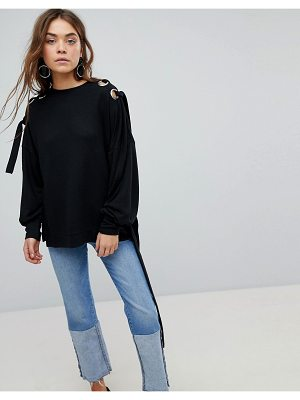 Only sweater with eyelet detail-black