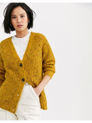 Only textured cardigan in mustard-yellow