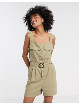Only utility romper with belted waist in beige-green