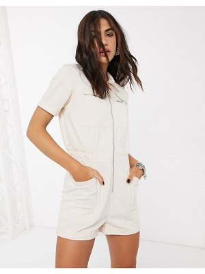 Only utility romper with zip through in cream