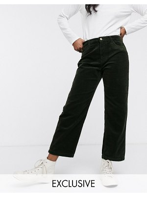 Only wide leg cord pants in green