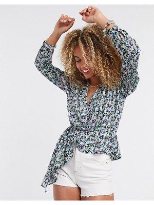 Only wrap detail blouse with asymmetric hem in floral print-multi