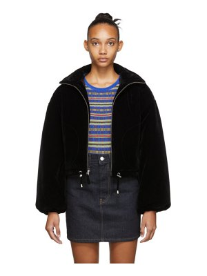 Opening Ceremony black cropped velvet puffer jacket