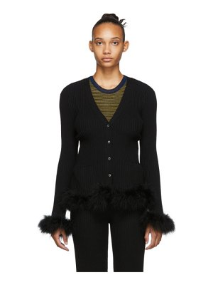 Opening Ceremony black ostrich feather cardigan