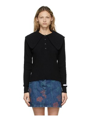 Opening Ceremony black ribbed petal collar polo