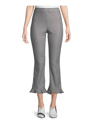 Opening Ceremony Flare-Leg Houndstooth Ruffle Cropped Pants