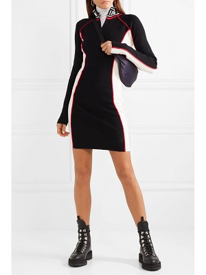 Opening Ceremony optic intarsia-trimmed color-block stretch-knit mini dress