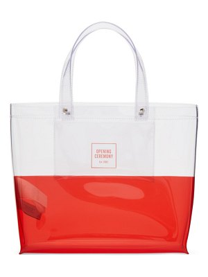 Opening Ceremony transparent & red medium colorblock shopping tote
