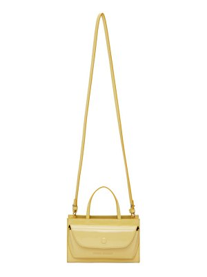 Opening Ceremony yellow patent faux-leather nano razor clam bag