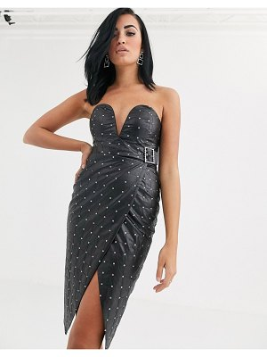 Opulence England premium party pu sequin midi dress with belt detail in black