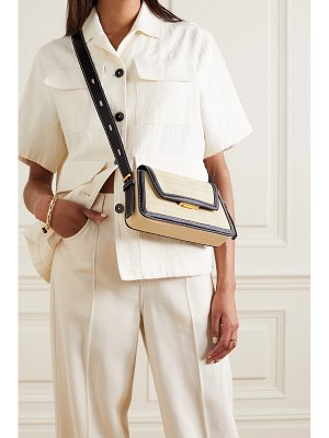 Oroton camille two-tone straw and leather shoulder bag