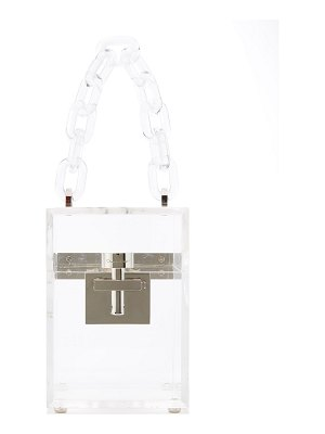 Oscar de la Renta Alibi Box Transparent Top-Handle Bag