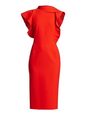 Oscar de la Renta asymmetric ruffle-sleeve midi dress