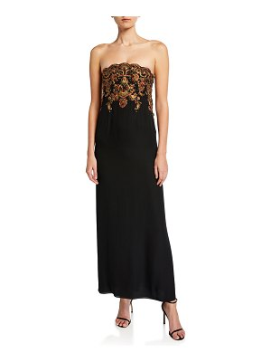 Oscar de la Renta Beaded Silk-Georgette Strapless Gown