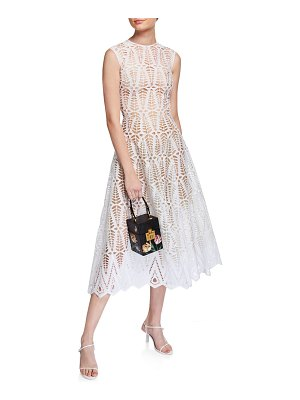 Oscar de la Renta Cotton Lace Midi Dress
