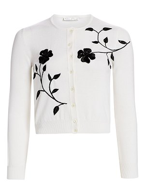 Oscar de la Renta embroidered floral wool cardigan