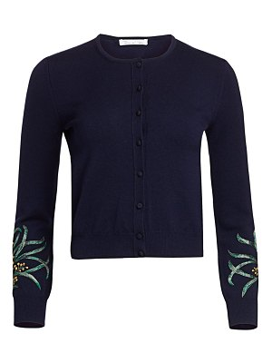Oscar de la Renta embroidered sleeve wool cardigan