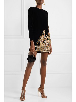 Oscar de la Renta embroidered velvet mini dress