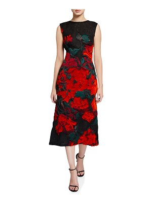 Oscar de la Renta Floral-Embroidered Lace Midi Dress