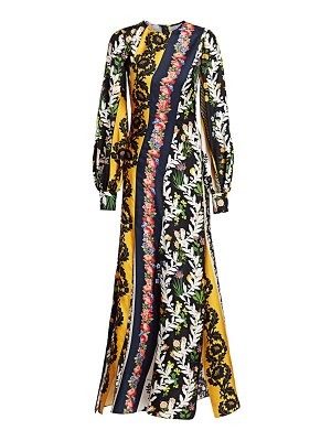 Oscar de la Renta floral silk puff-sleeve dress