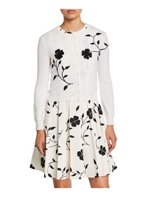 Oscar de la Renta Flower Embroidered Button-Front Wool Cardigan