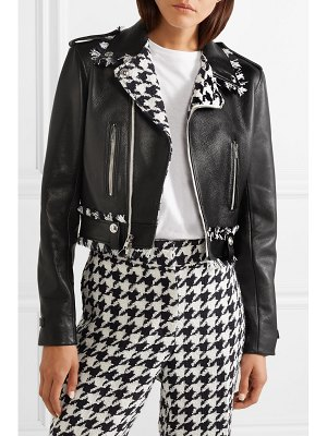 Oscar de la Renta frayed tweed-trimmed leather biker jacket