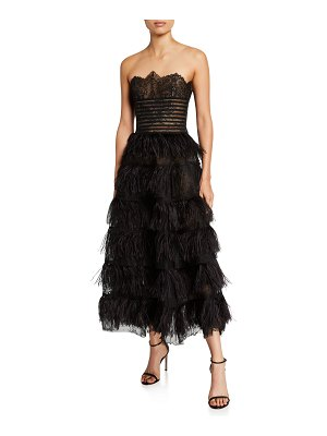 Oscar de la Renta Lace Bodice Strapless Feather-Skirt Gown