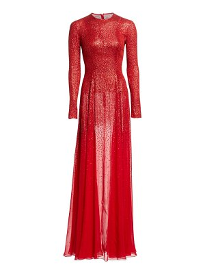 Oscar de la Renta long-sleeve beaded silk gown