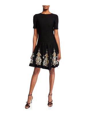 Oscar de la Renta Metallic-Embroidered Knit Day Dress