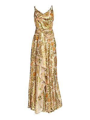 Oscar de la Renta metallic printed draped gown